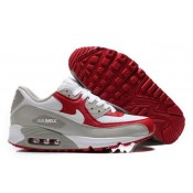 Homme Chaussures Nike Air Max 90 Blanc Varsity Rouge-Gris (v0AvW)