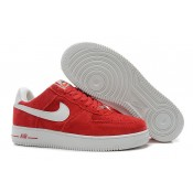 Promotions Nike Air Force 1 Basse Suede Université Rouge Blanc Homme (w9zPn)